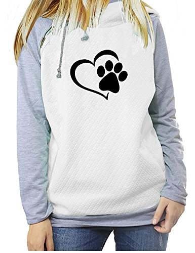 Love Dogs Print Long Sleeve Raglan Zipper Pullover Hoodies & Sweatshirt For Women White M