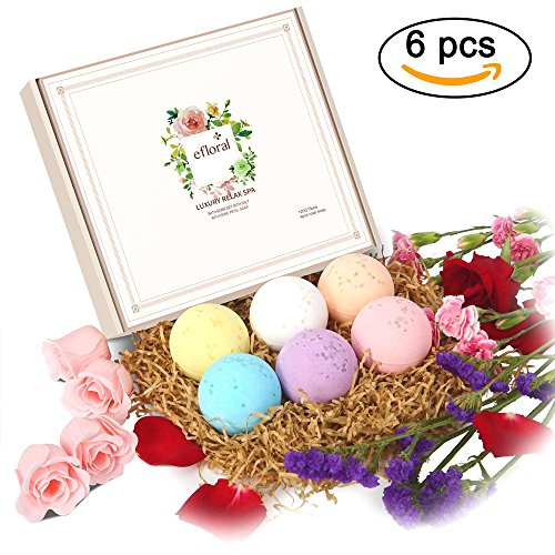 Efloral Luxury Handmade Natural 6 Bath Bombs Gift Set With Rose Flower Petal Soap Inside For Men Women Girls Kids (multi-A)