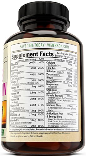 - 51eInH8pNcL - Women's Daily Multivitamin Supplement – Biotin, Vitamins A B C D E, Calcium, Zinc, Lutein, Magnesium, Manganese, Folic Acid & More. Natural, Non-Gmo, Gluten Free & Dairy Free Multivitamins for Women