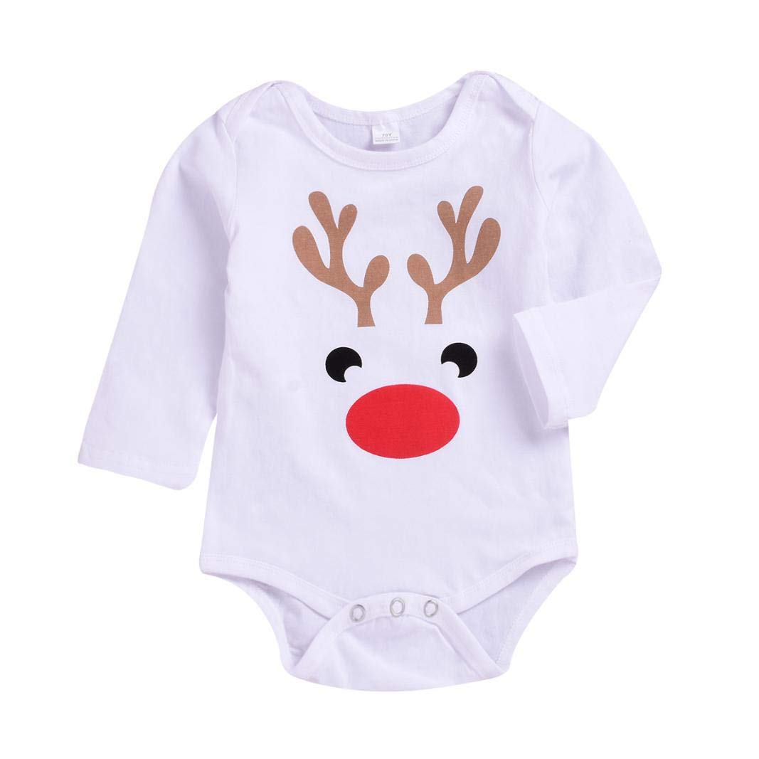 GoodLock Clearance!! Baby Boys Girls Romper Newborn Kids Long Sleeve Deer Print Romper Jumpsuit Clothes (White, 12 Months)