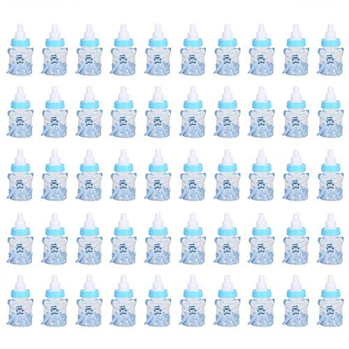 50PCS Candy Bottle Party Gifts Baby Shower Bottle Gadgets Party Favors Baby Feeding Bottle Design for Baby Girl Boy(Blue)]()