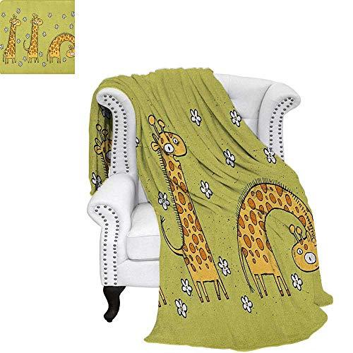 Animal Super Soft Lightweight Blanket Hand Drawn Illustration of Giraffes on Background with Flowers Weave Pattern Blanket 60