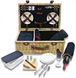 Picnic Pack Classic Wicker Picnic Basket Royal Blue, Upscale Service for 4 with Fleece Blanket by Picnic Pack USA