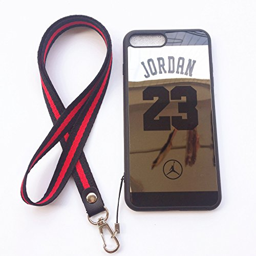 iPhone 7 Plus and 8 Plus Jordan 23 Case,Wellfun Reflective Mirror Case Jumpman Cover with Soft Neck Lanyard.Shockproof Resistant Case for iPhone 7 Plus and 8 Plus Case 5.5 Inch. (Black)