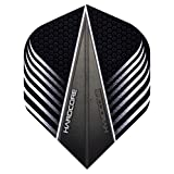 Hardcore Black and White V Design Extra Thick Standard Dart Flights - 4 sets Per Pack (12 Dart Flights in total) & Red Dragon Checkout Card