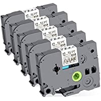 """TZ TZE Standard Laminated Label Tape Compatible for Brother P Touch TZe-131 TZ131 TZe131 Clear 12mm 8m (0.47"""" 26.2ft) 5 Pack"""
