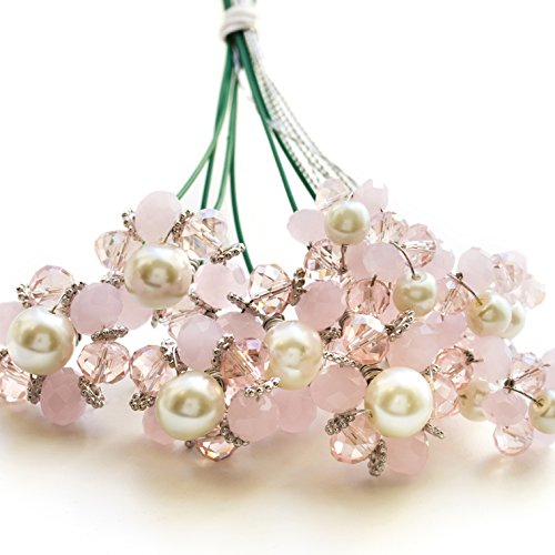 Pink Opal Crystal Bouquet Accents for Floral bouquets- Set of 12