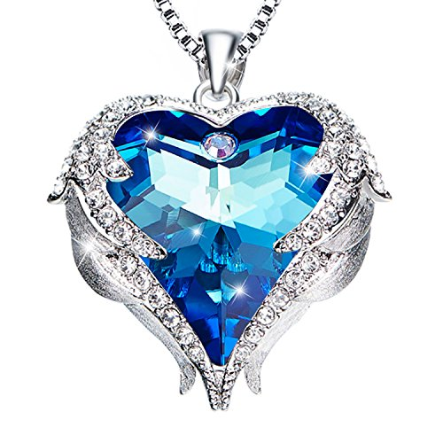 sedmart Guardian Angel Wings Heart Necklace Freedom Wings White Gold September Birthstone Necklace Pendant Blue Crystal for Women