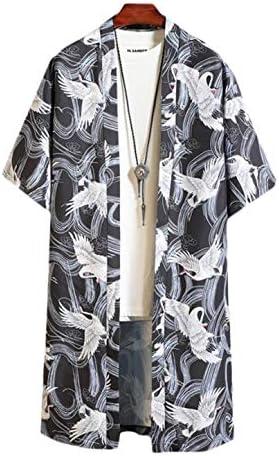 半袖 カーディガン メンズ ゆったり ロングカーディガン 夏 コーディガン 薄手 和服 コート 大きいサイズ 民族風