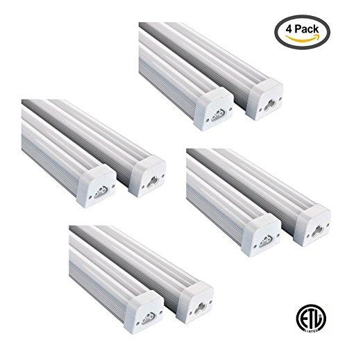 (Light BlueTM LED T5 Integrated Double Tube Light, 30-Watt, 4Ft, 4000K Cool White, 2,700 Lumens, Frosted, Ceiling and Under Cabinet Light, LED Shop Light, (4-PACK))