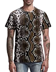 Funny World Men's Unique Camouflage & Leopard Mixed Print Vintage T-Shirts