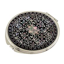 Mother of Pearl Arabesque Flower Design Black Magnifying Double Compact Cosmetic Makeup Round Hand Mirror