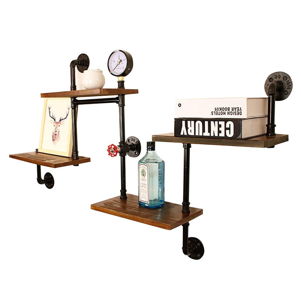 Schweberegale Wandregal mit Metall Eisen und Holz als Hängeregale Bücherregal Lagerregal für Wohnzimmer Schlafzimmer Vintage Retro (4 Schicht schwarz)