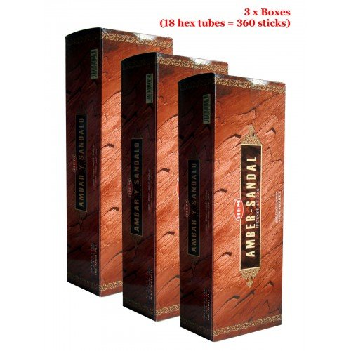 - HEM Amber Y Sandalo Incense, 3 Boxes - (360 sticks bulk per order)