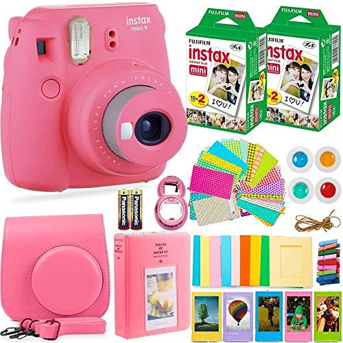 FujiFilm Instax Mini 9 Instant Camera + Fuji Instax Film (40 Sheets) + Batteries + Accessories Bundle – Carrying Case, Color Filters, Photo Album, Stickers, Selfie Lens + More (Flamingo Pink)