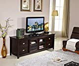 "Mixcept Solid Wood 73"" TV Media Unit Stand Entertainment display with Espresso Finish Storage Console"