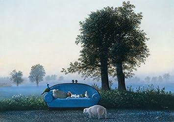 Postkarte A6 15079 Das Blaue Sofa Von Inkognito Kunstler