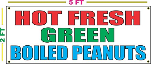 HOT FRESH GREEN BOILED PEANUTS Banner Sign