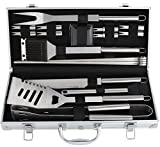 #10: ROMANTICIST 20Pc Heavy Duty Stainless Steel BBQ Grill Tool Accessories Set - Outdoor Camping Barbecue Grilling Utensils Gift Kit with Aluminum Case for Men Dad