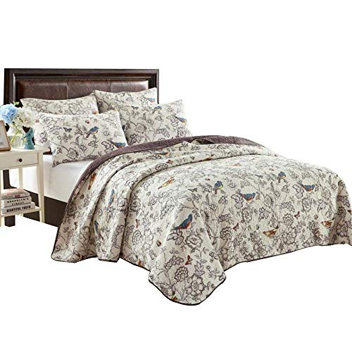 EAVD Antique Chic Reversible 100% Cotton 3 pcs Bedding Set Large Oversized Quilt with Two Matching Pillowcases 20