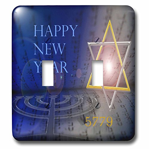 3dRose Jewish Themes - Image of Bright Mogen David With Menorah and Happy New Year - Light Switch Covers - double toggle switch ()
