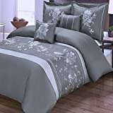 Duvet Cover Set and Pillowcases 5 Piece Luxury 100 Cotton Zipper Closure Embroidered Floral Flowers Pattern Bedding - with 4 Corner Ties - King/Cal King Size Size (106''x92'') Grey
