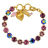 "Mariana Pink Tennis Bracelet, Gold Plated Swarovksi Crystal, 8"" 4252 319"