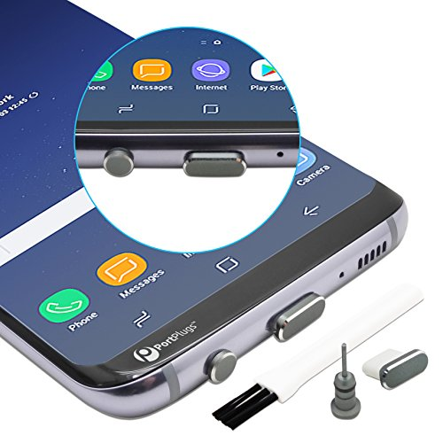 PortPlugs - USB C Aluminum Dust Plug Set - Charging Port and Headphone Jack with Integrated SIM Tool - Includes Holders and Cleaning Brush (Gun Metal)