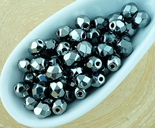 100pcs Metallic Dark Silver Chrome Full Round Faceted Fire Polished Small Spacer Czech Glass Beads 4mm