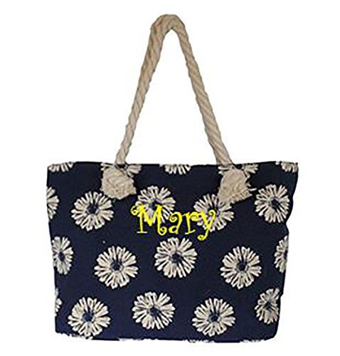 Custom Personalized Daisy Print Shopping Tote with Rope Handles
