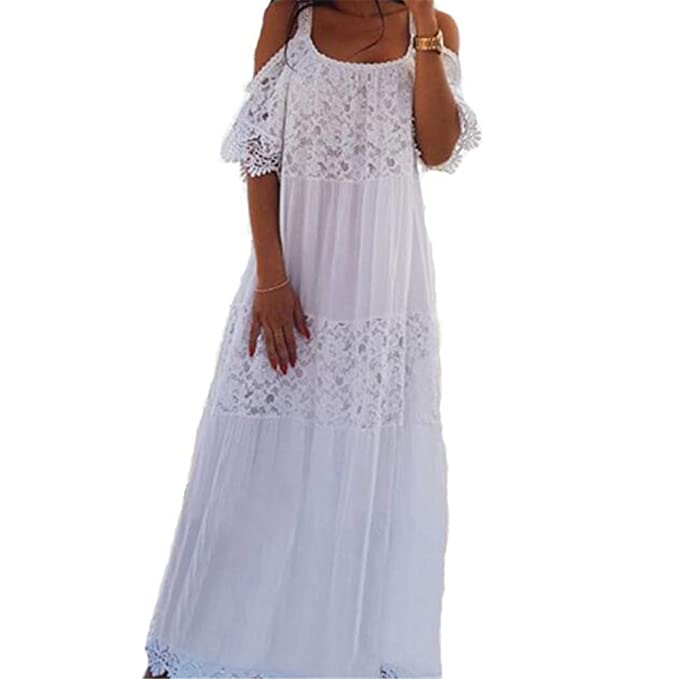 7932864952b Women Summer Maxi Bohemian Lace Cotton Patchwork Long Sexy Off Shoulder Dress  White