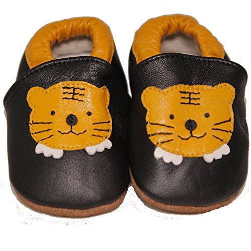 Leather Tigers (Baby Conda Handmade Cute Black with Yellow Tiger Baby Moccasins Leather Soft Sole Slip on Baby Shoes 100% Size 6 - 12 Months)