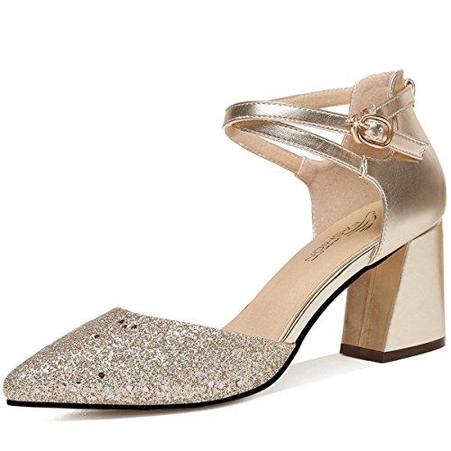 AJUNR Moda/elegante/Transpirable/Sandalias Fondo grueso Baotou verano rough Heels Roma Tacones altos Golden