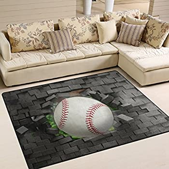 Naanle Sport Area Rug 5x7 Baseball Polyester Mat For Living Dining Dorm Room Bedroom Home Decorative