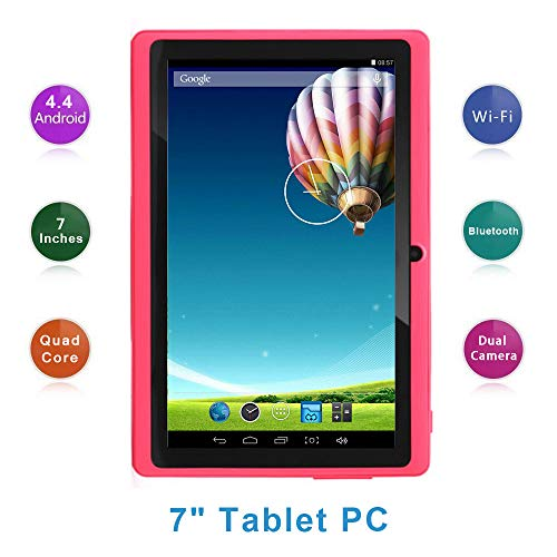 Haehne 7 Inch Tablet PC, Google Android 4.4 Quad Core, 512MB RAM 8GB ROM, Dual Cameras, WiFi, Bluetooth, for Adult Kids…