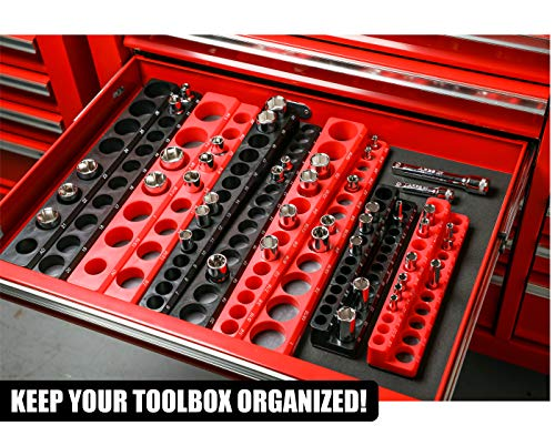 Magnetic Socket Holder 26-Piece 1//4-Inch Metric Portable Tool Box Organizer