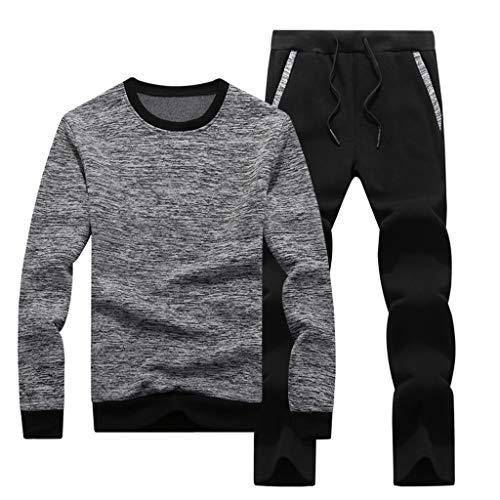 Leegor Men Tracksuits Casual Joggers Set Crewneck Long Sleeve Sweatshirt+Joggers Pant Sportsuit