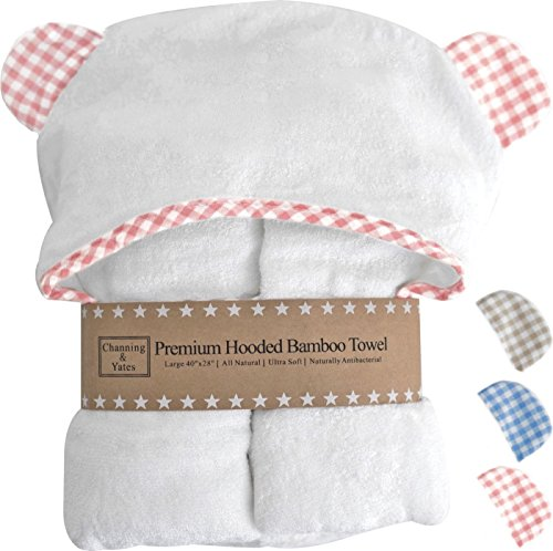 Princess Hooded Bath Towel - Premium Hooded Baby Girl Towel and Washcloth Set - Choose Pink, Blue, or Beige with White - Organic Bamboo Baby Towels with Hood - 2x as Thick & Soft - Baby Girl Bath Towels Gift for Girl