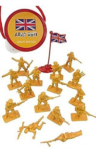 WWII British Infantry with Flag 8th Army World at War Toy Soldiers Series Plastic Army Men Figures 1/32 Scale 17 Pieces with Reusable Tube Storage - Marx, Airfix, Matchbox Type Figures ()