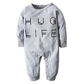 BIG ELEPHANT Baby Boys' Letter-Printed Long Sleeve Pajama Romper Sleeper