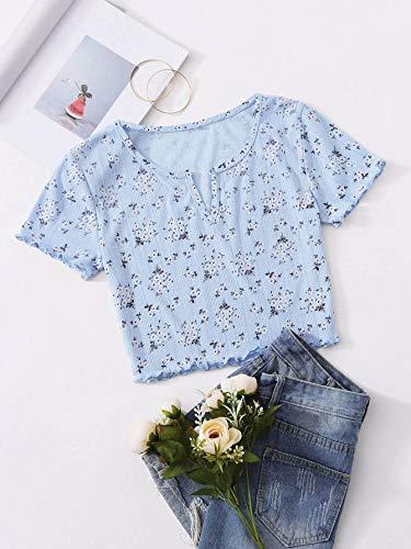 SweatyRocks Women's Floral Print Crop Tops Short Sleeve V-Neck Tee T Shirt Printed