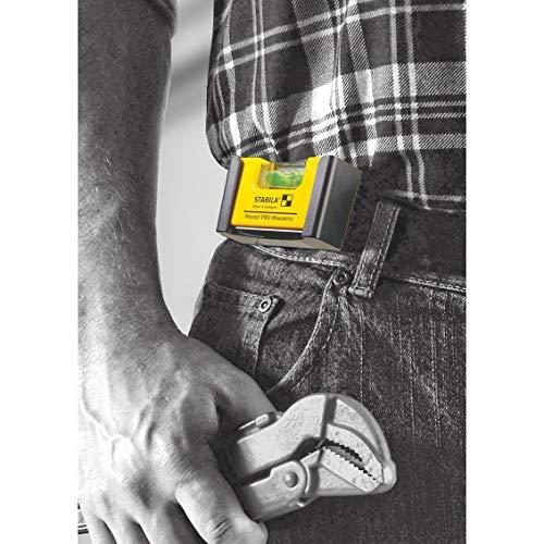 Stabila 11901 Nivel magnético de bolsillo PRO con funda Amarillo