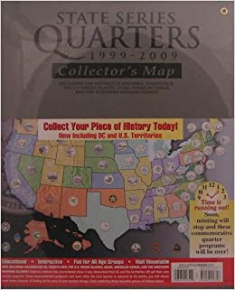 amazon com state series quarters 1999 2009 collector s map including the district of columbia puerto rico the u s virgin islands guam american