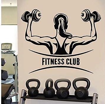 Wiwhy Fitness Club Girl Motivación Mancuernas Pared Stickevinyl Mural Arte De La Etiqueta Autoadhesiva Extraíble Wallpape71X57Cm: Amazon.es: Bricolaje y ...