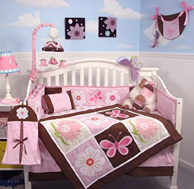SoHo Pink and Brown Sweetie Garden Baby Crib Nursery Bedding Set 13 pcs included Diaper Bag with Changing Pad & Bottle Case by SoHo Designs