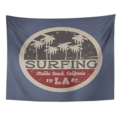 TOMPOP Tapestry the of Surfing and Surf in California Malibu Beach Grunge Vintage Design Stamp Graphics Home Decor Wall Hanging for Living Room Bedroom Dorm 60x80 Inches