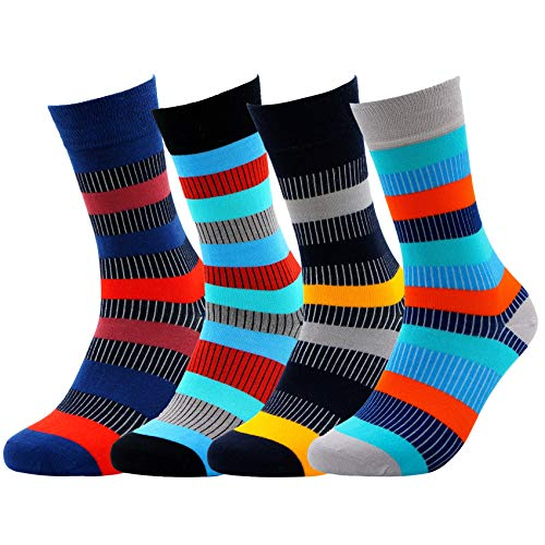 Herringbone Stripe Socks - Patterned BAMBOO SOCKS for Men Women - Soft Seamless Natural (Color Stripes)