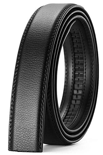 Xhtang Men's 1.38 inches wide Genuine Leather Belt without Buckle Ratchet Belt 110 ()