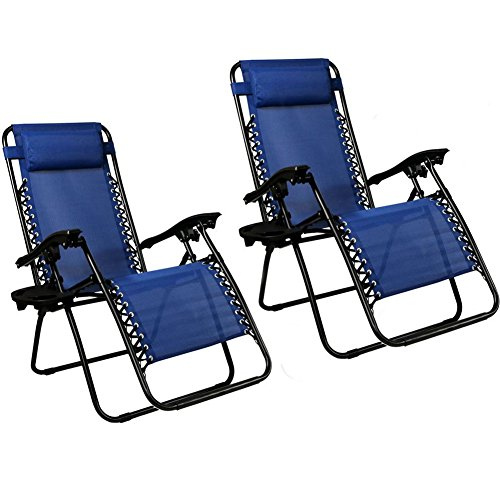 EMMETTS Ourdoor Black Zero Gravity Lounge Chair with Pillow and Cup Holder (blue)
