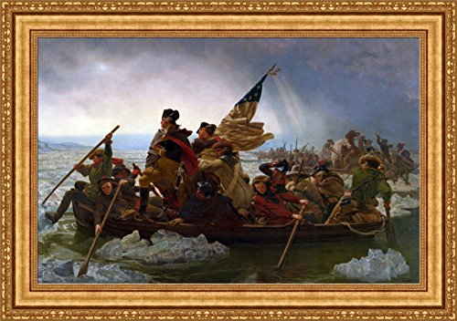 FOREVER Emanuel Leutze Washington Crossing The Delaware Framed Canvas Giclee Print - Finished Size (W) 40.1'' x (H) 28.1'' [Gold] (V05-09K-MD535-01)